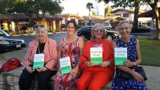 Group approval. Santa Barbara News Press columnist Marilyn McMahon. My mother Beverley in orange and Sally Dahl.